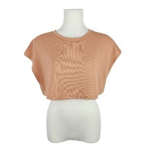 Revamped Camel Sleeveless Cropped Sweater Large